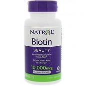 Viên uống hỗ trợ mọc tóc Natrol Biotin 10000 mcg - 100v